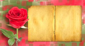 Grunge ancient used paper in scrapbooking style with roses royalty free stock images