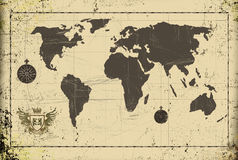 Grunge ancient world map with coat of arms Stock Image