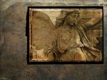 Grunge angel postcard - sepia royalty free stock image