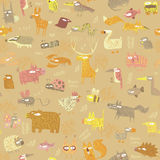 Grunge Animals seamless pattern Stock Image