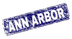 Grunge ANN ARBOR ontwierp Rond gemaakte Rechthoekzegel royalty-vrije illustratie