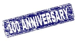 Grunge 100 ANNIVERSARY Framed Rounded Rectangle Stamp. 100 ANNIVERSARY stamp seal print with grunge style. Seal shape is a rounded rectangle with frame. Blue vector illustration