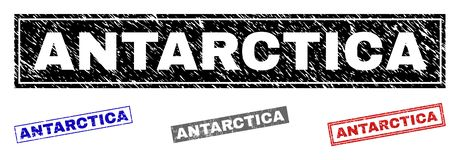 Grunge ANTARCTICA Scratched Rectangle Watermarks. Grunge ANTARCTICA rectangle watermarks isolated on a white background. Rectangular seals with grunge texture in vector illustration