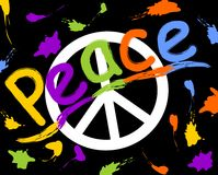Grunge anti war flyer with anti war symbol in hippies retro style. Rainbow inscription peace and colorful spray splashes Stock Images