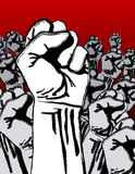 Grunge anti-war revolution. Grunge revolution - crowd of fists; pseudo paint-stroke stencil effect; can illustrate anti-war movement, strike, protest, anarchy Royalty Free Stock Image
