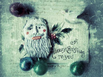 Grunge antique Christmas card with script Royalty Free Stock Photography