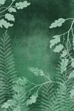 Hand drawn art dyed grunge background with Japanese style ink look on antiqued edge background in dark green. Grunge antiqued background dyed look with Japanese royalty free illustration