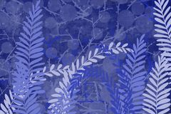 Hand drawn bokeh fern and plant art dyed grunge background with Japanese ink antiqued style background in indigo blue. Grunge antiqued background dyed look with stock illustration
