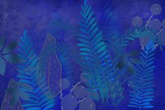 Hand drawn fern and plant art dyed grunge background with Japanese style ink look on antiqued edge background in indigo blue. Grunge antiqued background dyed vector illustration