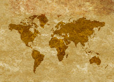 Grunge Antiqued World Map on Parchment Stock Photo