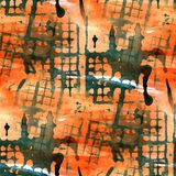 Grunge antyczny ornament rysuje usa kolorową czerwień, Obraz Royalty Free