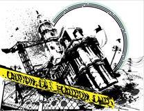 Grunge apenó la ciudad de la precaución Imágenes de archivo libres de regalías