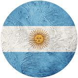 Grunge Argentina flag. Argentina button flag Isolated on white b. Ackground. Button flag Stock Photos