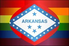 Grunge Arkansas en Vrolijke vlaggen Stock Afbeelding