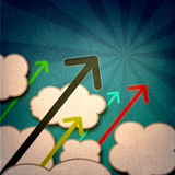 Grunge arrows template. Arrows rising over clouds and sunbeams at an angle, growth concept backdrop template for presentations or other uses Stock Images