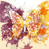 Grunge art background with butterfly made from swirls and ink sp Royalty Free Stock Image