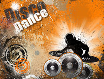 Grunge Art DJ-Disco-Flugblatt-Hintergrund Stockbild