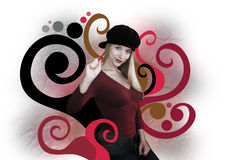 Grunge Art Girl Painting Swirls. A young woman is painting red and black swirls of art. She is blond and wearing a black hat Royalty Free Stock Photo