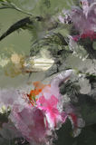 Grunge Artisan Painted Lily Flower. Dark Grunge Smeary Splatter Artisan Lily Abstraction Stock Photography