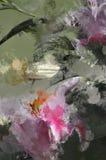Grunge Artisan Painted Lily Flower. Dark Grunge Smeary Splatter Artisan Lily Abstraction vector illustration