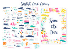Grunge artistic brush strokes set for creation Creative design cards, save the date, business cards, promos. Stylish art Stock Photos