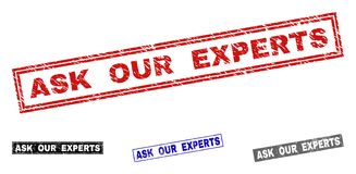 Grunge ASK OUR EXPERTS Scratched Rectangle Stamps stock illustration
