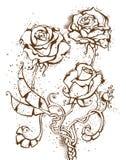 Grunge atramentu róże Zdjęcia Stock