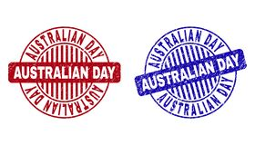 Grunge AUSTRALIAN DAY Scratched Round Stamp Seals. Grunge AUSTRALIAN DAY round watermarks isolated on a white background. Round seals with grunge texture in red vector illustration