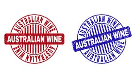 Grunge AUSTRALIAN WINE Textured Round Stamps. Grunge AUSTRALIAN WINE round stamp seals isolated on a white background. Round seals with grunge texture in red and royalty free illustration