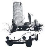 Grunge Auto-Stadt lizenzfreie abbildung