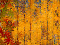 Grunge autumn background with fall leaves. Fall leaves border against yellow wooden planks - grunge style Stock Images