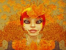 Grunge autumn girl with leaves. Grunge illustration of girl and autumn leaves on paper backgound Royalty Free Stock Images