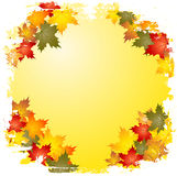 Grunge autumn leaf border stock illustration