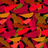 Grunge autumn pattern with fern leafs. Vector seamless pattern with leafs inspired by fall nature and plants like palm trees and ferns in multiple red colors and Royalty Free Stock Images