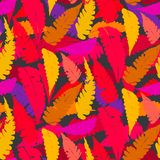 Grunge autumn pattern with fern leafs. Vector seamless pattern with leafs inspired by fall nature and plants like palm trees and ferns in multiple red and purple Royalty Free Stock Image