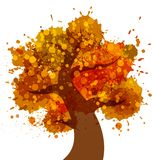 Grunge Autumn Tree icon Stock Photography