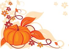 Grunge autumnal background with pumpkin. Vector illustration Royalty Free Stock Photo