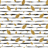 Grunge autumnal linear background with golden glitter leaf maple. Gold autumn leaves seamless pattern on striped background, grunge autumnal linear background Royalty Free Stock Photography