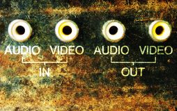 Grunge av inputs. Grunge audio video inputs, background Royalty Free Stock Photos