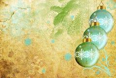 Grunge azul de las bolas de la Navidad Fotos de archivo