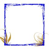 Grunge azul do frame do ouro Foto de Stock