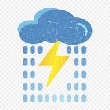 Grunge błękita chmury ikona z błyskawicą i deszczem Kreskówki ilustracja błękit chmura z błyskawicy i deszczu wektorową ikoną dla royalty ilustracja