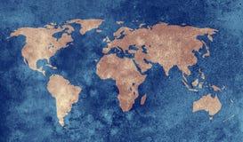 Grunge błękitna światowa mapa zdjęcia stock