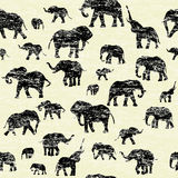 Grunge backgorund with elephants silhouettes Royalty Free Stock Photo