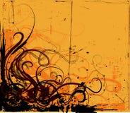 Grunge Background. With floral design corner Stock Image