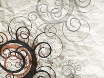Grunge background. Grunge crumpled paper with floral decor Royalty Free Stock Images