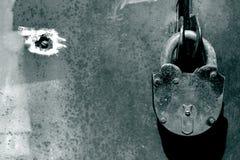 Grunge background. Lock on iron door, grunge background Stock Photos