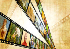 Grunge background. With image of a filmstrip Royalty Free Stock Images