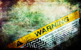 Grunge background. With warning sign Stock Photos