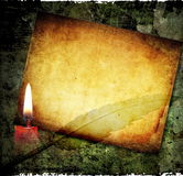 Grunge background. Vintage background with paper and burning candle Stock Photos